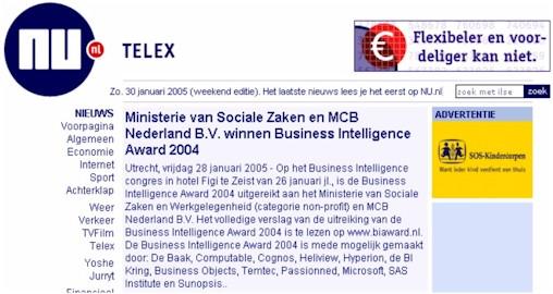 Ministerie van Sociale Zaken en MCB winnen BI Award 2004