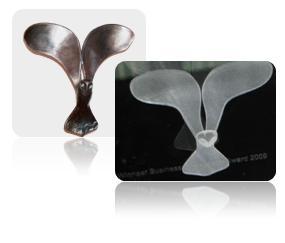Vanaf 2009 is deze uil in 3D ingescand en geholograveerd in glas.